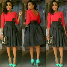 Love the outfit, not the shoe color. Church Dresses, Church Outfits, Modest Dresses, Church Attire, African Fashion Dresses, African Dress, African Outfits, Skirt Outfits, Cute Outfits