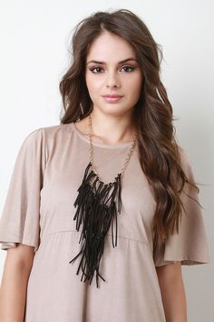 Tiered Suede Fringe Necklace - Black Description This statement  fringe  on gold-tone cable chain with adjustable lobster hook closure. Necklace includes matching earrings. Lead compliant.   Measurement Necklace measures approx. 20  L.Pendant measures approx. 8.5  L x 5  W.Earrings measure 3.25  L x 0.4  W. UNG59668BLC   http://p.nembol.com/p/4JLJMGZB6g Published via Nembol app