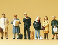 Preiser 10411 Waiting Passengers (Pack of 6) – OO/HO - Deluxe hand painted waiting passenger figures.  Pack quantity: 6 Scale compatibility : OO / HO / 1:76 / 1:87 #modelrailway #layout #figures