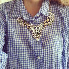 carreaux bleus et blancs (vichy) et collier argent avec pierres du Rhin