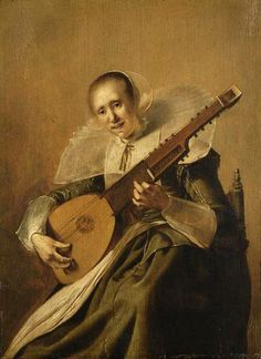 Giclee Print: Woman Playing the Theorbo, by Pieter Jacobsz Code : Renaissance Music, Dutch Golden Age, Art Database, Vintage Artwork, Medieval Art, Concert Posters, Portraits, Beautiful Paintings, Sculpture