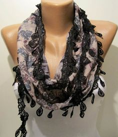Grey and Patterened Elegance Shawl / Scarf with by SwedishShop, $15.90