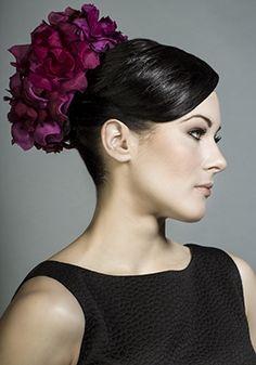 Rachel Trevor-Morgan Millinery - Deep pink silk petal ball pillbox.