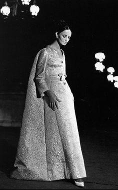 Model is wearing a lurex glacé brocade dress by Nina Ricci, photo by Richard Dormer, 1964