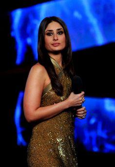 Indian Bollywood actress Kareena Kapoor poses on the set of a...