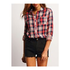 SheIn(sheinside) Red Blue Lapel Plaid Pocket Blouse (€12) ❤ liked on Polyvore featuring tops, blouses, red, black long sleeve blouse, blue plaid blouse, red plaid top, long sleeve tops and long sleeve red blouse
