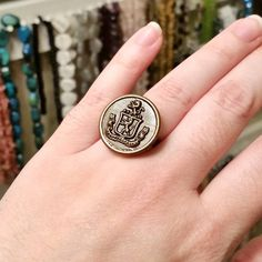 Ring A Day Challenge 2015 Day 22: Large Vintage 1950's Button Ring (adjustable brass base). See the entire project at https://www.facebook.com/media/set/?set=a.750193175076911.1073741853.231724523590448&type=3