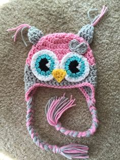 NB - Child Owl Pink Grey Animal Crochet Hat Girl Photo Prop Winter Halloween Fall  sold by Little Willow Bowtique. Shop more products from Little Willow Bowtique on Storenvy, the home of independent small businesses all over the world.