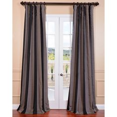 Ultra Lux Blackout Black Mink Taffeta Stripe Curtain Panel | Overstock.com Shopping - Great Deals on EFF Curtains