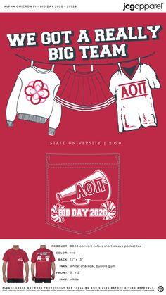 Alpha Omicron Pi Bid Day Shirt | Sorority Bid Day Shirt | Greek Bid Day Shirt #alphaomicronpi #aopi #aoii #aop #Bid #Day #Shirt #we #got #a #really #big #team Sorority Bid Day, Sorority And Fraternity, Bid Day Shirts, Bid Day Themes, Alpha Omicron Pi, Custom Design Shirts, Comfort Colors, State University, Screen Printing