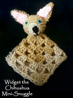 Ravelry: Widget the Chihuahua Mini Snuggle Blanket pattern by Myshelle Cole Crochet Security Blanket, Crochet Lovey, Crochet Cross, Baby Blanket Crochet, Free Crochet, Easy Crochet, Easy Baby Blanket, Snuggle Blanket, Lovey Blanket