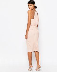 Image 1 ofASOS Drape Back Midi Pencil Dress