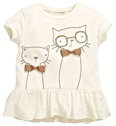 Buy Textured Cat Peplum Top from the Next UK on.- Buy Textured Cat Peplum Top from the Next UK online shop Buy Textured Cat Peplum Top from the Next UK online shop - Baby Outfits, Kids Outfits Girls, Shirts For Girls, Shirt Embroidery, Baby Cartoon, Cartoon Cats, Kids Prints, Summer Kids, 2017 Summer