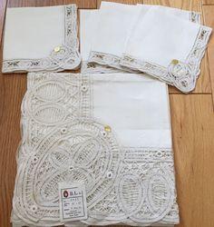 Vtg NEW Pure Linen Handmade Ivory White Linen Tablecloth 45x45 4 Napkins NOS