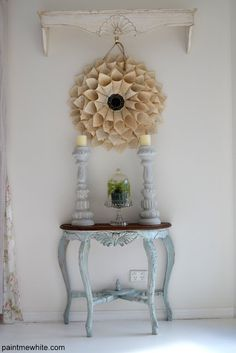 Love the wall art flower made of recycled book pages