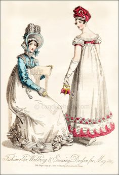 """Fashionable Walking & Evening Dresses for May 1819"""