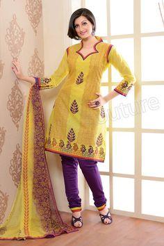 Yellow and Purple Printed Cotton #Salwar Kameez