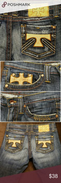 "Plastic by Gly size 7 x 31-1/2 inseam Cross themed Plastic by Gly Boot/Flare size 7 x 31-1/2 Light and dark charcoal stone wash denim designer jean with lots of character! Cross themes! Very flattering.. Great shape! This jean is wear free! Very Cool 👓 This jean is Like New! Made in USA with love!      ⭐ Boot/Flare Cut⭐ Label Size: 7      Relaxed Measurements: Waist relaxed straight across: 15-1/4"" Waist across finger pulled snug: 16-1/4"" Front Rise: 7-1/2"" Rear rise: 12-1/2"" Inseam…"