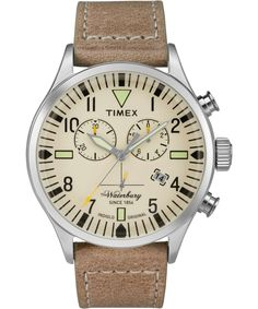 This is a stainless steel case with tan leather strap chronograph watch from Timex. This watch has 3 hands and natural dial with marker indexing and date window. This watch arrives in a Timex packaging and guarantee. Todd Snyder Timex, Cool Watches, Watches For Men, Unique Watches, Affordable Watches, Herren Chronograph, Timex Watches, Watch Model, Knights