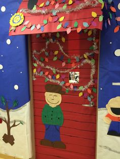 charlie brown christmas hallway clroom door decoration peanut