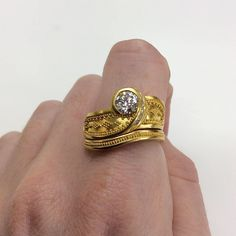 """Studio Jewelers on Instagram: """"Julie Rauschenberger ring set with .62 ct diamond in 22k yellow gold. #handmade #gold #goldring #diamond #diamondring #engagementring…"""" Class Ring, Gold Rings, Engagement Rings, Jewels, Stone, Studio, Diamond, Yellow, Handmade"""