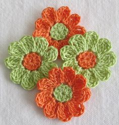 Small Crochet Flowers for Scrapbooks or Sewing 12 Handmade Crochet Small Flower, Crochet Flower Tutorial, Crochet Flowers, Crochet Home, Love Crochet, Crochet Crafts, Crochet Chain, Crochet Motif, Knit Crochet