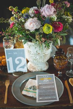 lush table setting + centerpiece // photo by Christina Lilly / styling by Gilded Lily Events