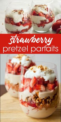 Strawberry pretzel salad parfaits for two are the sweetest way to enjoy strawberries! The salty sweet combo of pretzels and strawberries is a classic Southern recipe that you will love! Great for Easter dessert or a healthy breakfast. Strawberry Pretzel Salad, Strawberry Dessert Recipes, Healthy Dessert Recipes, Easy Desserts, Delicious Desserts, Recipes Dinner, Desserts With Strawberries, Healthy Strawberry Shortcake, Strawberry Tiramisu