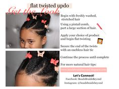 Short on time? Looking for a quick hairstyle that can fit any occasion? Try this simple flat twisted updo!