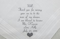Father of the Groom Gift father in law gift Handkerchief Embroidered Wedding Hankerchief from the Bride Personalized by Napa Embroidery