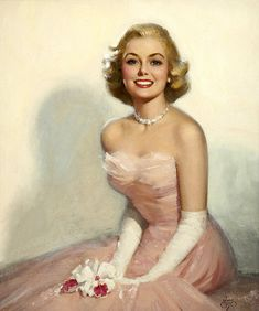 I love the soft, ballet-esque hues in this beautiful painting by Walt Otto. #vintage #1950s #pink #dress #woman #art