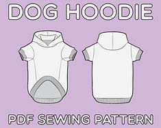 Small Dog Clothes Patterns, Large Dog Clothes, Pet Clothes, Dog Sweater Pattern, Hoodie Pattern, Dog Hoodie, Pdf Sewing Patterns, Dress Patterns, Etsy