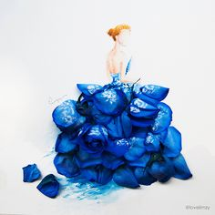This flower petal art is a beautifully unexpected series in which watercolors and flower petals are blended together into one elegant composition. Created by Singapore-based Malaysian artist Lim Zhi Wei, aka Bravo! Arte Floral, Flower Petals, Flower Art, Flower Girls, Art Flowers, Arte Fashion, Fashion In, Dress Fashion, Dress Drawing