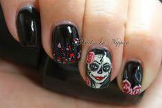 Nails In Nippon: Halloween Sugar Skull Girl #nail #nails #nailart