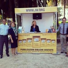 Rome Italy - Modern day way of dispensing literature to the public. Also on jw.org The public feel free to come over and take whatever literature they are interested in. It is free of charge.