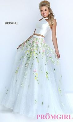 Ivory Two Piece Halter Floor Length Prom Dress with Lace Detailing at PromGirl.com