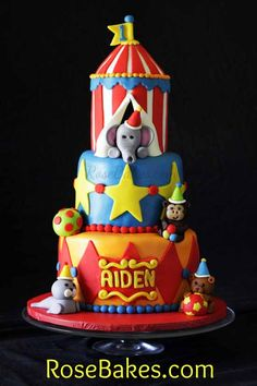 Circus Tent Cake: 1st Birthday.  Click over to see all the pics and details!!