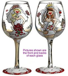 """Bride To Be"" Hand Painted Wine Glasses"