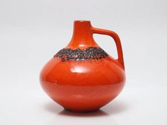 Vintage West German Fat Lava Orange Handled Vase by Kreutz