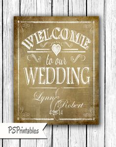 Personalized Welcome to our Wedding Printable File by PSPrintables, $12.00