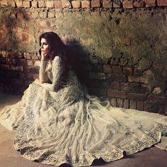 Pakistani model Amna Baber posing for Elan. - High Fashion Pakistan