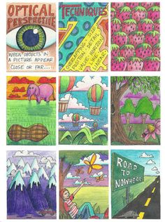 The Lost Sock : Visual Perspective ATC (art trading cards) Cool way to do EoA PoD Art Room Posters, 8th Grade Art, Art Trading Cards, Art Worksheets, Perspective Art, Art Curriculum, Principles Of Art, School Art Projects, Middle School Art
