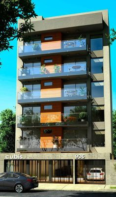 Cubis Silver (Quilmes Centro-S Residential Building Design, Office Building Architecture, Home Building Design, Facade Architecture, Modern Exterior House Designs, Dream House Exterior, Architectural Design House Plans, Exterior Design, Townhouse Exterior