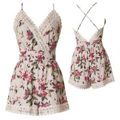 """Cute Floral Romper w/ lace Unique romper! Spaghetti strap top with lace and floral print flared romper Small measurements : W: 11 In, L: 27 in, B: 15 In m. Medium: W: 14 L:27"""" B: 17"""" Large: W:15 B:18"""" L 27"""" Self& Lining: 100% Polyester, With lining Imported Naturally Spiritual  Shorts"""