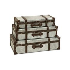 S/3 Theodric Galvanized Trunks (1,175 CNY) found on Polyvore featuring home, home decor, small item storage, vintage trunk and vintage home decor