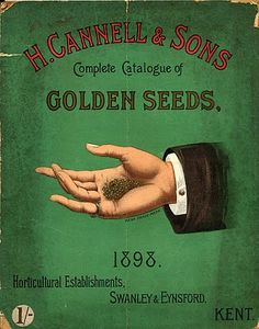 The deep, almost emerald, green and lovely mix of fonts really help this vintage seed catalog cover pop. #vintage #seed #catalog #illustration #Victorian #1800s
