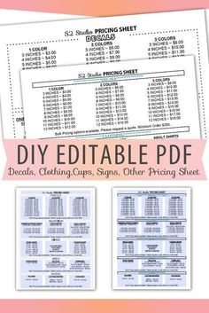 Vinyl Decals Pricing Sheet Editable PDF Letter Size Form Blank Custom Form Clothing, Cups, Signs, In Vinyl Crafts, Vinyl Projects, Crafty Projects, Cricut Vinyl, Vinyl Decals, Cricut Craft, Cricut Fonts, Cricut Apps, Window Decals