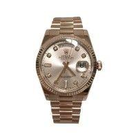 Rolex Day-Date Oyster 36MM 18K Everose Pink Diamond Baguette Dial Fluted Bezel President Bracelet Vintage