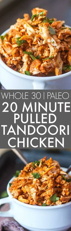 20 Minute Stovetop Pulled Tandoori Chicken (Whole 30 Paleo)- Friendly juicy moist and EASY pulled tandoori chicken perfect for a low carb high protein and flavorful meal- Lunch dinner and freezer friendly! {paleo gluten free http:/ Healthy Recipes, Clean Eating Recipes, Indian Food Recipes, Real Food Recipes, Healthy Eating, Cooking Recipes, Protein Recipes, Free Recipes, Healthy High Protein Meals