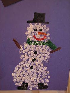 Snowman Q-Tip painting...